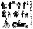 People Man Using Retro Vintage Object Stick Figure Pictogram Icon - stock photo