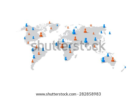 People man woman element on world map, network concept, vector illustration