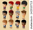 People Men Isometric Set. Vector Illustrator - stock vector