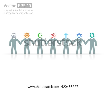People of different religions. Islam Muslim. Judaism Jew. Buddhism Buddhist. Christianity. Hindu. Taoist. Religion vector symbols and characters. Friendship and peace for different creeds
