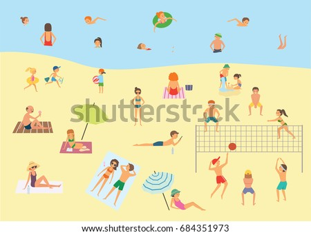 People Relaxing On Beach Cartoon Vector Stock Vector ...