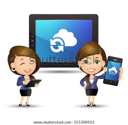 People Set - Cloud computing - Businesswoman with cloud computing