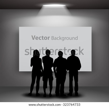 People silhouettes looking on the empty frame with lights for images and advertisement. Ideal concept for promoting product or service. Fully editable eps10