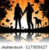 People walking their dog in the Autumn Leaves - stock vector