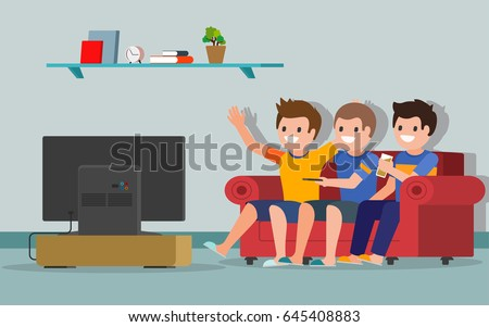 Family Watching News On Tv Vector Stock Vector 400532746 ...