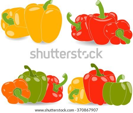Peppers, set of yellow, red, green and orange peppers and parsley leaves, vector illustration on a transparent background