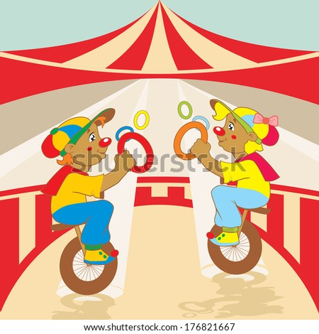 Performance in the circus funny clowns. Vector illustration. - stock ...