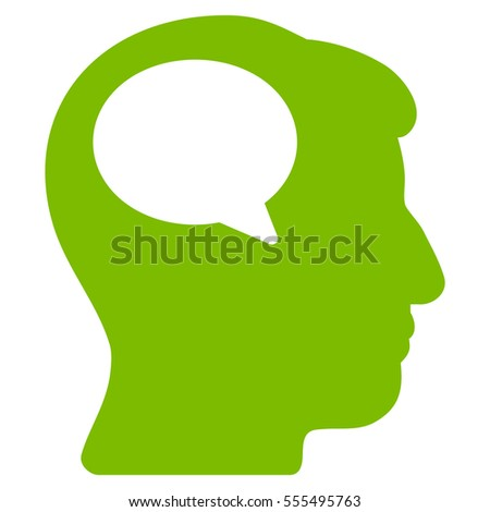 Person Thinking vector pictograph. Style is flat graphic symbol, eco green color, white background.