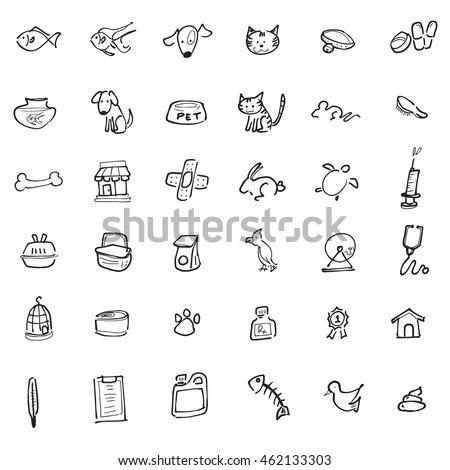 Pet shop drawing icons set