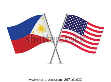 philippines american flags vector illustration stock vector