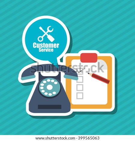 phone and customer service icon design, vector illustration