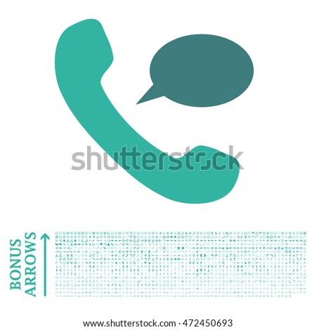 Phone Message icon with 1200 bonus arrow and navigation pictograms. Vector illustration style is flat iconic bicolor symbols, cobalt and cyan colors, white background.