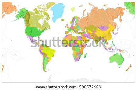 World Map Political Green Orange Vector Stock Vector - World map blank physical