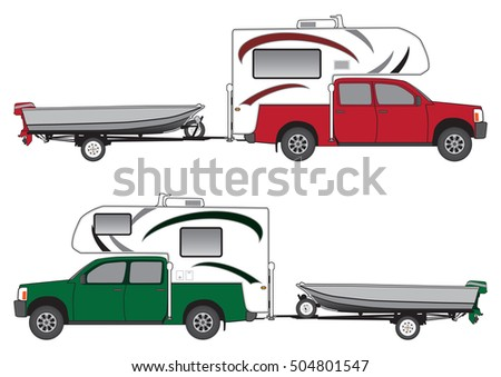 Pickup with camper is towing boat on trailer in two different color schemes
