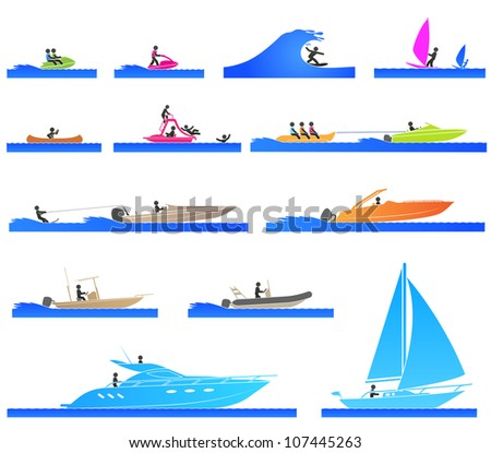 Set Different Types Boat Submarine Stock Vector 107445257 ...