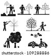 Pictograms representing people taking care of fruit tree - stock vector