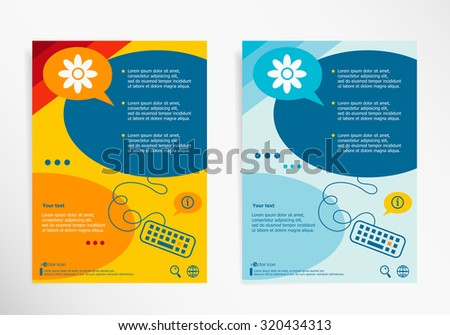 ironing service flyer template - bug icon on chat speech bubbles stock vector 383554522