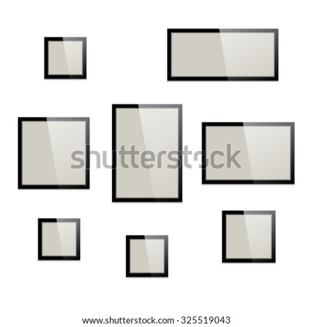 Picture frames set. Different portrait, landscape and square vector frames for pictures or photos.