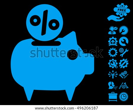 Piggy Bank icon with bonus tools pictograph collection. Vector illustration style is flat iconic symbols, blue color, black background.