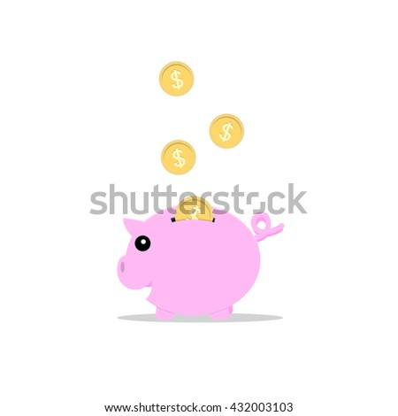 piggy bank pink color  with golden coins icon