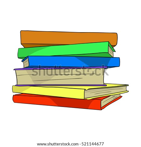 Pile of books on white background. Hand drawn stack of many colorful books. Flat vector illustration done in cartoon style.