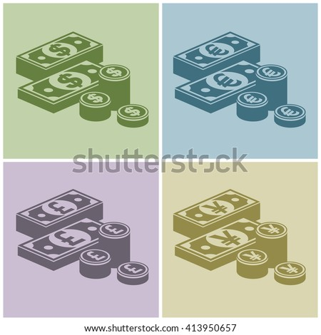 Pile of money stack. Icon for business,money sign, dollar cash, infographic element. Banknotes and coins. Vector illustration