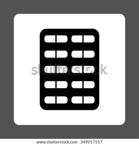 Pill Blister vector icon. Style is flat rounded square button, black and white colors, gray background.