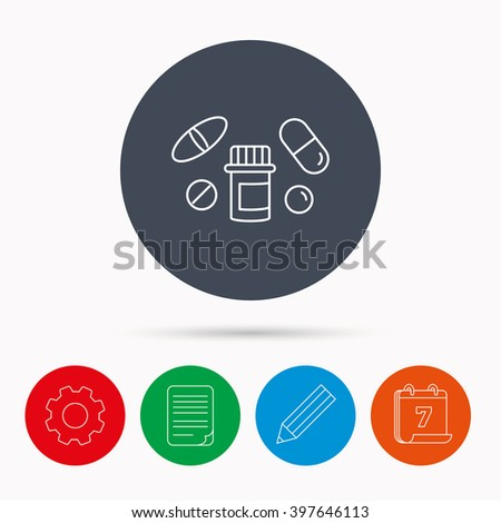 Pills icon. Pharmacy bottle sign. Medical drugs symbol. Calendar, cogwheel, document file and pencil icons.