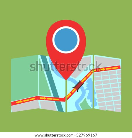 pin Navigator on the map and the route. vector illustration