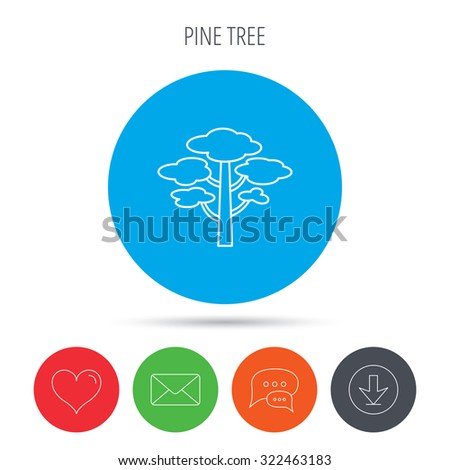 Pine tree icon. Forest wood sign. Nature environment symbol. Mail, download and speech bubble buttons. Like symbol. Vector