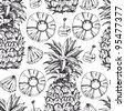 Pineapple fresh seamless pattern - stock vector