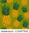 pineapple seamless pattern - stock vector