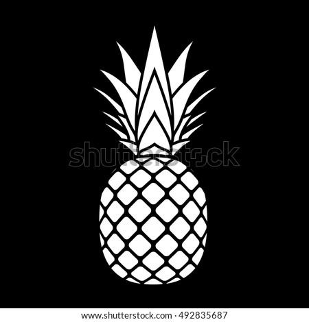 Ripe Tasty Pineapple Doodle Style Raster Stock