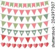 Pink and green vector bunting set - stock vector