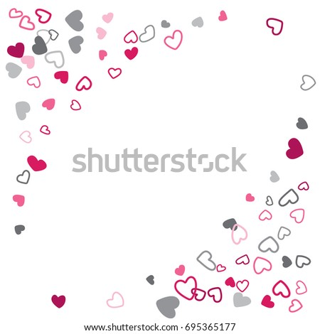 pink and grey hearts wedding background invitation card template vector heart confetti border with