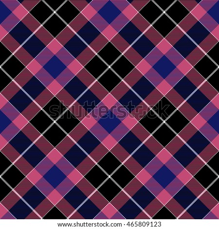 Pink blue check plaid seamless diagonal fabric texture. Vector illustration. EPS10.