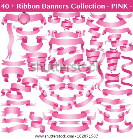 Pink Cancer Ribbon Banners Collection Isolated on White. Vector