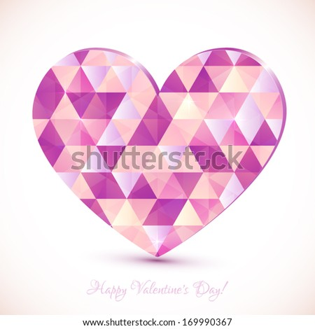 Pink diamonds pattern vector realistic heart