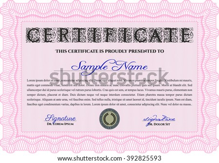 Pink Diploma or certificate template. With complex background. Vector illustration. Lovely design.