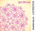 Pink doodle vintage flowers circle vector background - stock photo