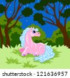 pink fairy  horse with blue mane is in the woods at night - stock photo