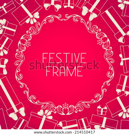 Pink festive background. Gift boxes silhouettes and vintage frame. There is place for your text in the center.