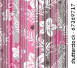 Pink-grey-white floral  seamless striped pattern (vector) - stock photo