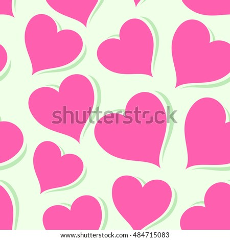 Pink Hearts, Vector Seamless Looped Pattern, Celebration Wallpaper symbolizing Love. Rose Hearts on Bright Background.