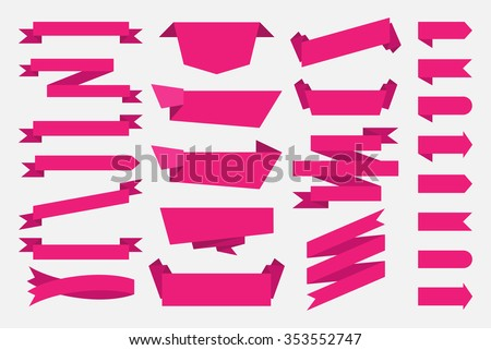 Colorful creative ribbon on transparent background stock vector pink ribbons banners tags labels vintage template flat design vector illustration yadclub Image collections