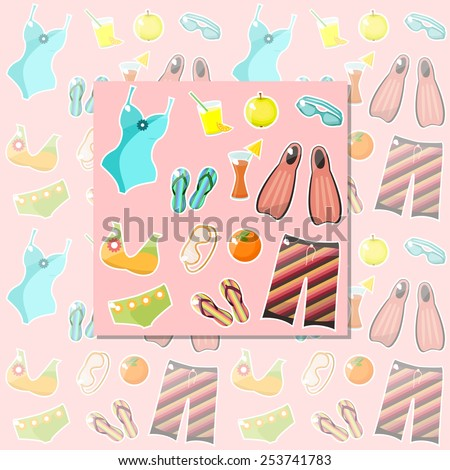Pink seamless pattern with swimming-pool icons. Vector.