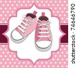 Pink shoes on a polka dot background, children or young adult shoes, pair kids sneaker. - stock vector