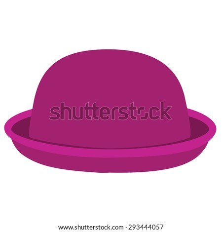 Pink woman bowler hat. Derby hat. Fashion, glamour winter hat