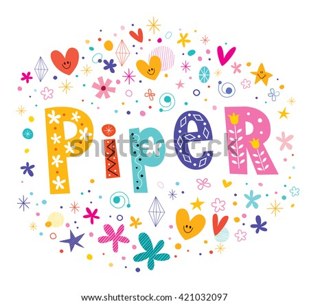 piper girls name decorative lettering type design