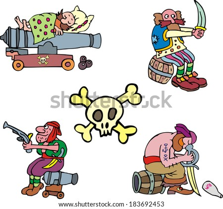 Pirate clipart. Set of adventure vector illustrations.